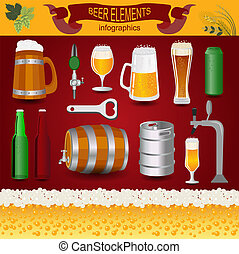 Beer infographics, set elements, for creating your own...