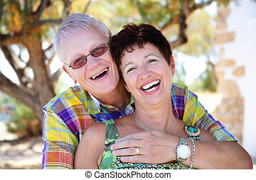 beautiful mature couple in love - close-up portrait of a...