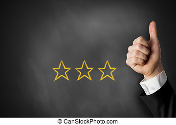 thumbs up three rating stars - thumbs up with three golden...