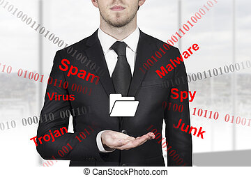 businessman holding folder symbol internet attack -...