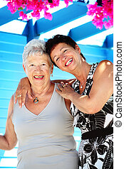 Our wonderful Greek holidays - beautiful senior mother and...