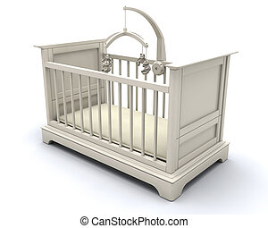 Cot for baby - 3D render of a cot for a baby
