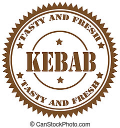 Kebab-stamp - Rubber stamp with text Kebab,vector...