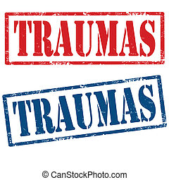 Traumas-stamps - Set of grunge rubber stamps with text...