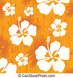 Seamless pattern with Hibiscus flowers on orange background,...