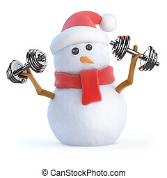 3d Snowman works out with weights - 3d render of a snowman...