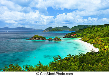 Trunk bay on St John island, US Virgin Islands - Aerial view...