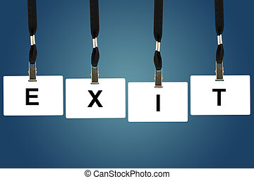 exit word on badge with blue background