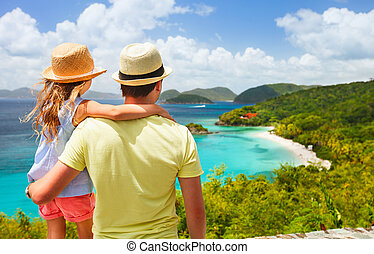Family at Trunk bay on St John island - Family of father and...