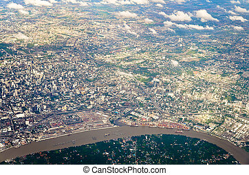 aerial view of Bankok from air plane