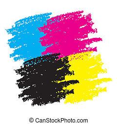 Cmyk Grunge Smears. Vector illustration for your design