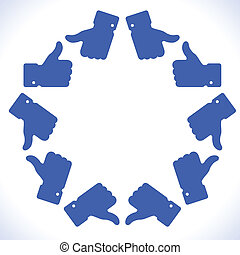 Blue star thumb up icon