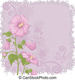Holiday background with mallow flowers