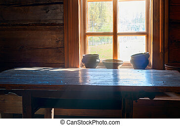 utensils on the table Russian hut - The everyday life in the...