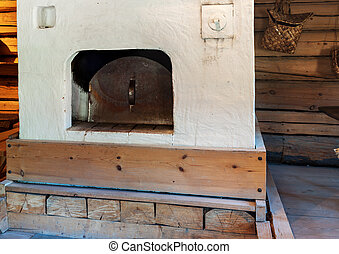 A traditional Russian stove in the farmhouse