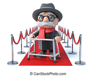 3d Grandpa on the red carpet - 3d render of an old man with...