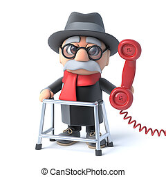 3d Grandpa makes a phone call - 3d render of an old man with...