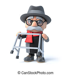 3d Grandpa is feeling fit - 3d render of an old man lifting...