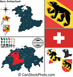 Map of Bern, Switzerland - Vector map of state Bern with...