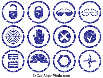 Gadget icons set Grunge White - dark blue palette Vector...
