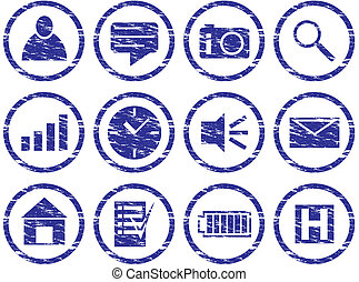 Gadget icons set. Grunge. White - dark blue palette. Vector...