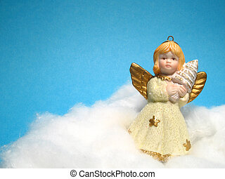 Christmas decoration, Angel - Angel on blue background,...