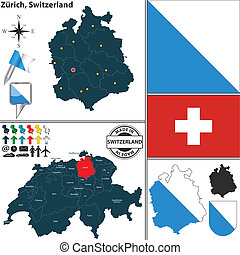 Map of Zurich, Switzerland - Vector map of state Zurich with...