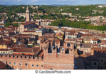 Skyline of Verona, Italy from the Lamberti Tower - Skyline...