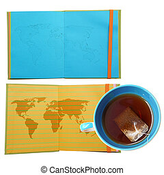 Notebook with map world and coffee