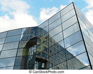 Modern office building - Facade of modern office building...