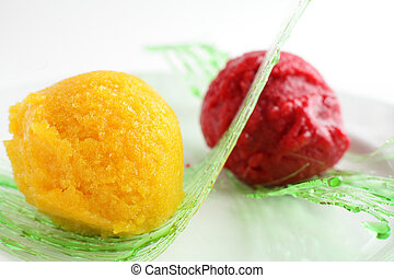 sorbet from orange and strawberry