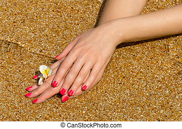 Manicured hand in the sand