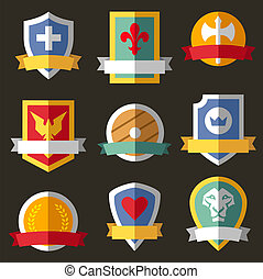 Vector coats of arms, shields, ribbons