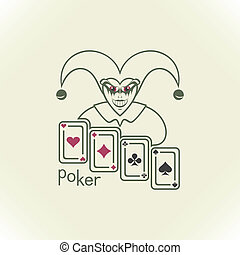 Joker and playing cards