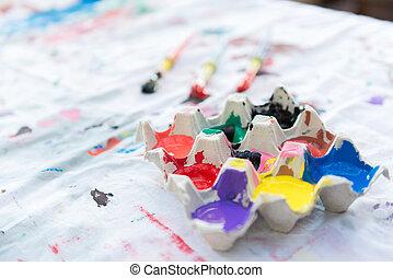 Color Paint in Egg Carton - Egg carton containing color...
