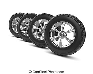 3d Car wheels - 3d render of four car wheels with tires