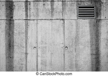 Ventilation grille on a concrete wall texture