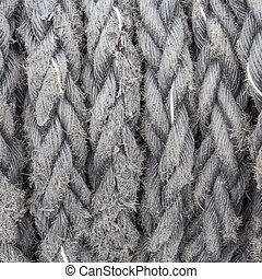 ship ropes sack as black and white color - Old ship ropes...