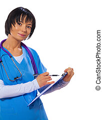 asian female doctor holding clipboard writing and looking at...