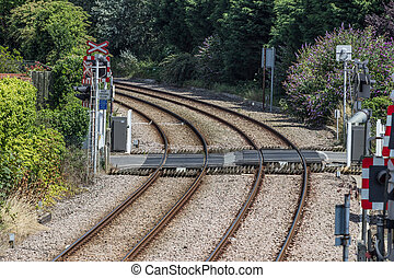 Railway tracks and crossing - Railway tracks, with crossing,...