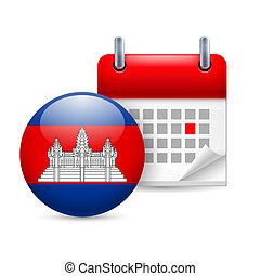 pictogram, nationale, dag, Cambodja