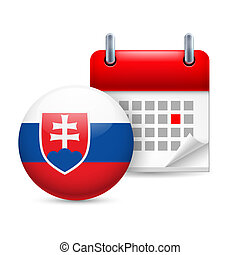 Icon of National Day in Slovakia - Calendar and round Slovak...