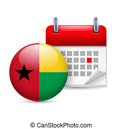 Icon of National Day in Guinea-Bissau - Calendar and round...