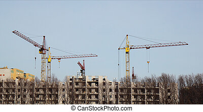 Inside place for many tall buildings under construction and...