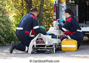 emergencia, médico, personal, rescatar, paciente