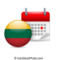 Icon of National Day in Lithuania - Calendar and round...