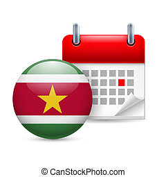 Icon of National Day in Suriname - Calendar and round...
