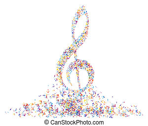 Multicolor musical note staff background Vector illustration...