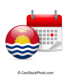 Icon of National Day in Kiribati - Calendar and round flag...