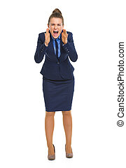 Full length portrait of angry business woman shouting...